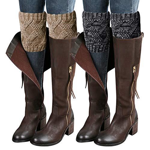 2PCs Fashion Women Winter Crochet Knitted Boot Cuffs Socks Short Leg Warmers, Ankle & Knee Warmers, Topper Socks for Boots