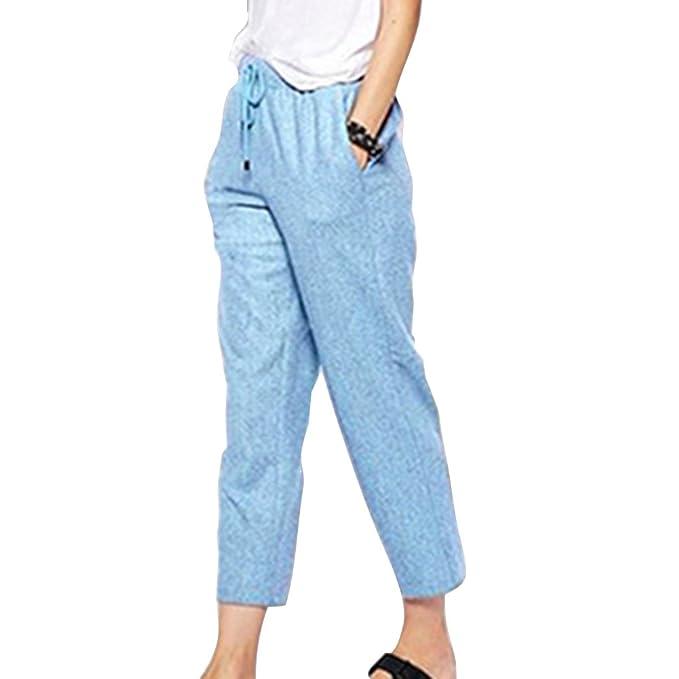 af29b4fdd Hibote Pantalones Verano Mujer Cintura Alta Pantalones Lino con Cordón  Pantalones Playa Pantalones Sueltos Color Sólido 7 8 Longitud Casual Suave  Cómodo  ...