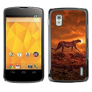 TopCaseStore / la caja del caucho duro de la cubierta de protección de la piel - Orange African Animal - LG Google Nexus 4 E960