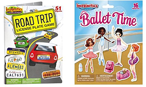 Maven Gifts Set of 51 Imaginetics Road Trip License Plate Game and Set of 16 Imaginetics Ballet Time Play Set