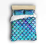 Full Size Bedding Set- Fish Scales Purple Blue Duvet Cover Set Bedspread for Childrens/Kids/Teens/Adults, 4 Piece 100 % Cotton
