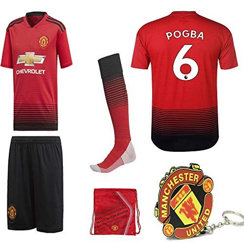 Manchester United Pogba Lukaku Alexis 2018 19 Kid Replica Jersey Kit : Shirt, Short, Socks, Bag, PVC Key (Please Check Sizing Measurements!!!)