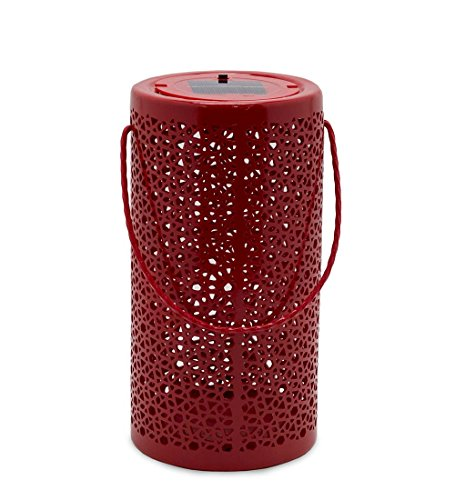 Solar Ceramic Hanging Outdoor Lantern 5.5 dia. x 10.75 H Red by Plow & Hearth
