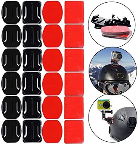 24pc Helmet Accessories Flat Curved Adhesive Mount for Gopro Hero 3 3 4 5 2 1 6
