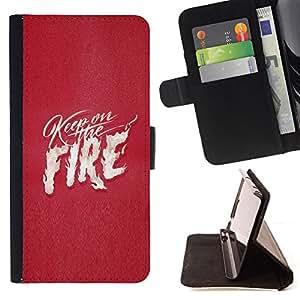 BullDog Case - FOR/Samsung Galaxy S3 Mini I8190Samsung Galaxy S3 Mini I8190 / - / PINK FIRE TEXT WHITE FLAMES LOVE HEART /- Monedero de cuero de la PU Llevar cubierta de la caja con el ID Credit Card Slots Flip funda de cuer