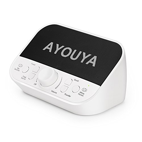 White Noise Machine, AYOUYA Sleep Sound Machine for Baby Kids Adults Home Office Privacy, 28 Soothing Sounds, 2×3W High-fidelity Speaker, 4 Auto-Off Timer, Memory Function, Headphone Jack (White) by AYOUYA