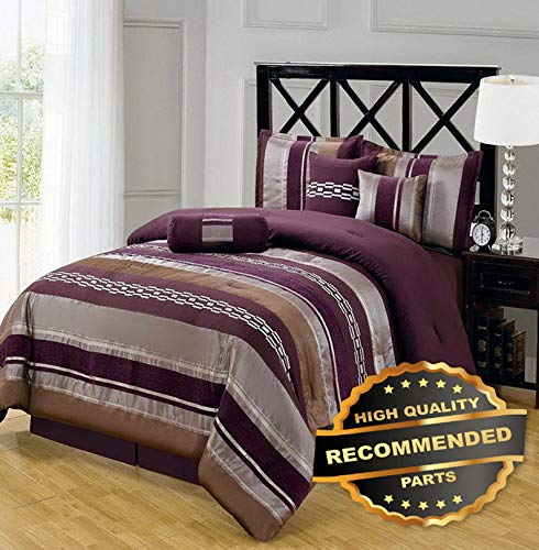 Ellyly Premium New Chic 7pc Claudia Purple Comforter Set | Style CMFTR-120219878 | Queen