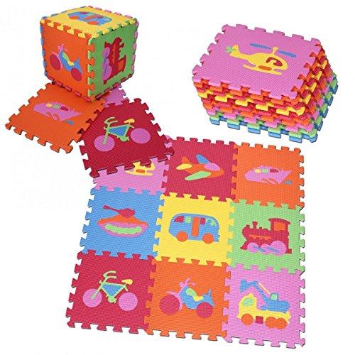 PRINZBERT Fahrzeuge Puzzlematte 9 Matten 64-tlg. Puzzleteppich kreativ Spielmatte Spielteppich bunt Schaumstoffmatte rutschfest Lernteppich robust schadstofffrei Spielfläche mit Lerneffekt