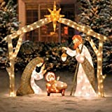 Champagne Lighted Nativity Holy Family Creche Display Outdoor Christmas Decoration Yard Lawn Holiday Sculpture