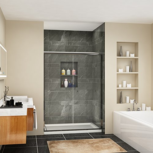 Discover Bargain SUNNY SHOWER B020-5472Cb Frameless Glass Shower Door, Clear Brushed Nickel Finish, ...