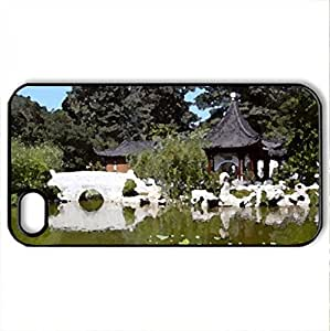 Asian gardan - Case Cover for iPhone 4 and 4s (Ancient Series, Watercolor style, Black)