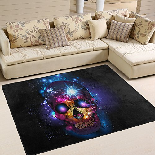Fantastic Sugar Skull Day of the Dead Halloween Decorations Area Rug Pad Non-Slip Kitchen Floor Mat for Living Room Bedroom 5' x 7' Doormats Home Decor