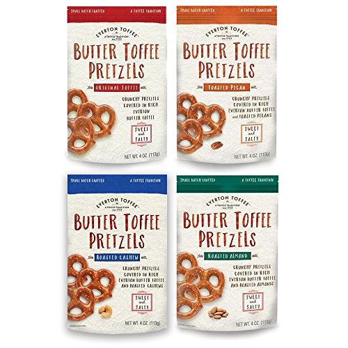 Everton Toffee Butter Toffee Pretzels Assortment Pack: Original, Roasted Almond, Roasted Cashew, Toasted Pecan (Pretzel Toffee)