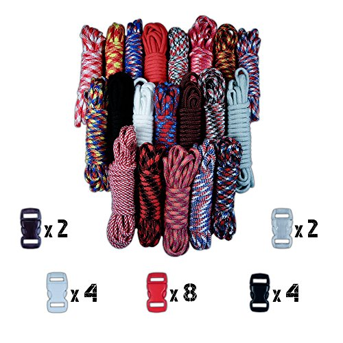 - Craft County 550lb Type III Paracord Combo Crafting Kits with Buckles
