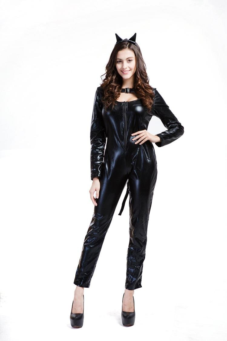 FUHOAHDD Wicked para Kitty para Wicked Disfraz para Mujer Cosplay Catsuit Mono de Cuero de Patente 8b6151