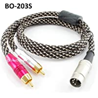 CablesOnline 3ft 5-Pin Din Male to 2-RCA Male Professional Premium Mesh Audio Cable for Bang & Olufsen, Naim, Quad...Stereo Systems (BO-203S)