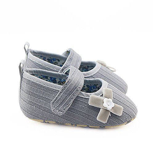 Coohole Nouveau-né Infantile Bébé Filles Crochet Et Boucle Boucle Sangle Bowknot Berceau Chaussures Semelle Souple Antidérapant Espadrilles (12, Bleu 1) Gris 2