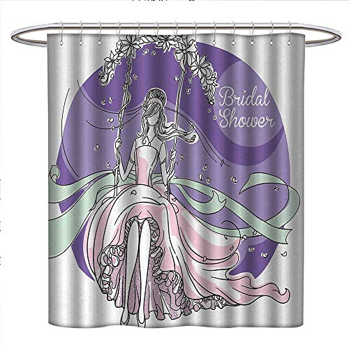 Anniutwo Bridal Shower Shower Curtains Fabric Extra Long Bride Party Themed Image with Swings Florals Wedding Celebration Bathroom Set with Hooks W72 x L96 Purple and Light Pink ()