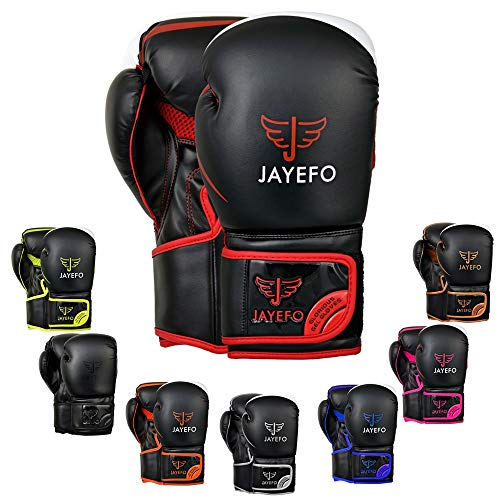 Jayefo Glorious Boxing Gloves (Black/RED, 8 OZ)