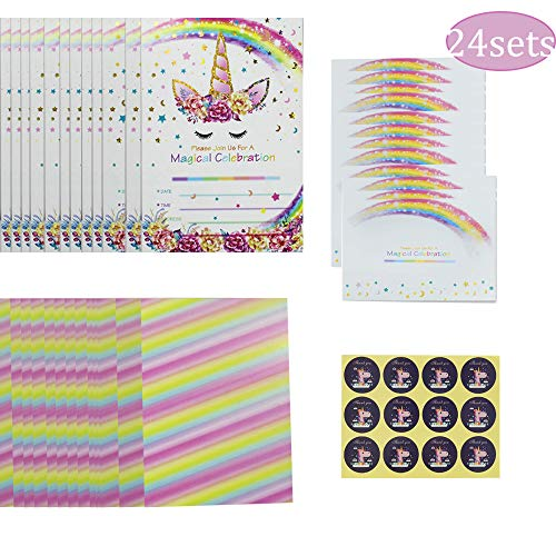 24pcs Unicorn Invitations with 24 Envelopes and Unicorn Thank You Tags,Rainbow Invitation Cards for Kids Birthday Baby Shower Wedding Party Supplies Double Sided -