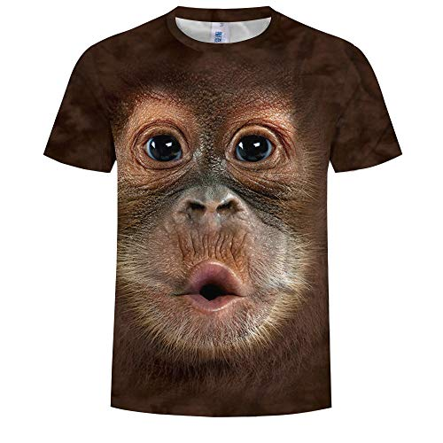 (Homemaple Summer Fashion 3D Monkey Singing Illustration Print Men's Round Neck T-Shirt)