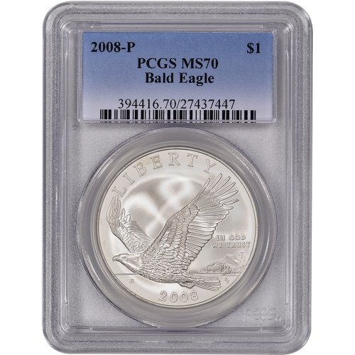 Eagle Coins 2008 Bald (2008 P US Bald Eagle Commemorative BU Silver Dollar PCGS MS70)