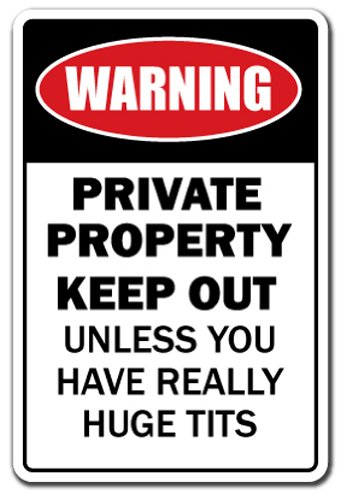 (Private Property Huge Boobs [3 Pack] of Vinyl Decal Stickers | Indoor/Outdoor | Funny Decoration for Laptop, Car, Garage, Bedroom, Offices |)
