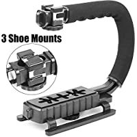 ChromLives Camcorder Stabilizer Triple 3 Shoe Mount Camera handle Grip Video Action Stabilizing Handle Grip for DSLR Camera Camcorder Canon Nikon Sony iPhone 7 Plus (