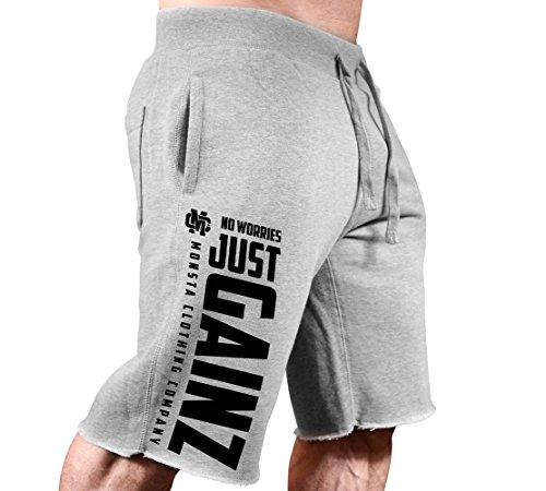 Men's SweatShorts No Worries-Just GAINZ-311 Black Art (Grey SweatShorts/Black Art, Large)