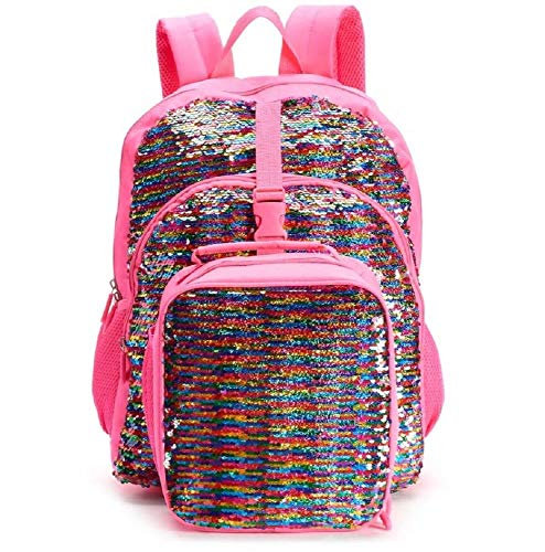 Kids Flippable Sequin Backpack & Lunch Bag Set (Pink) -