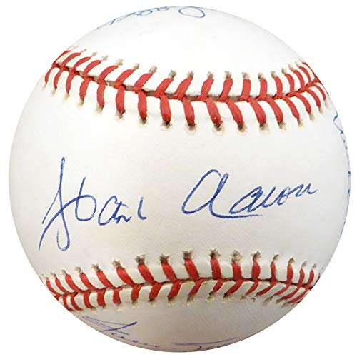 500 HR Club Autographed Official NL Baseball With 10 Total Signatures Including Hank Aaron & Willie Mays Beckett BAS - Willie Signature Mays