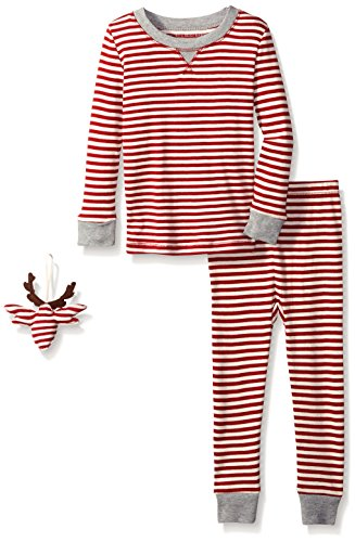 Burt's Bees Baby Infant Unisex Organic 2-Piece Pajama Set with Ornament,Cranberry Candy Cane,12 Months