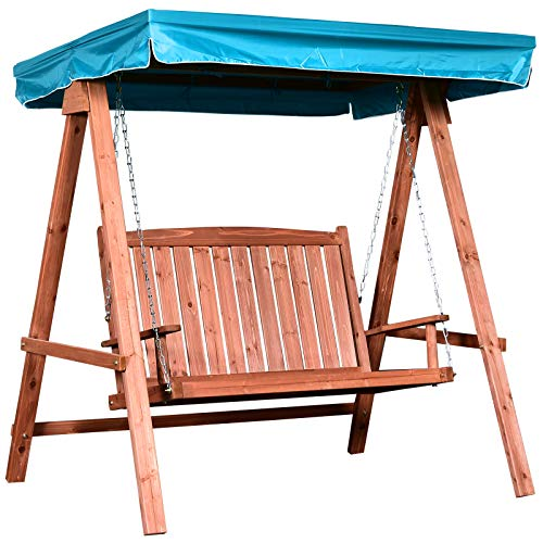 Outsunny 2 Seater Wooden Garden Swing Chair Seat Hammock Bench Loveseat Furniture Lounger Bed with Canopy (Blue)