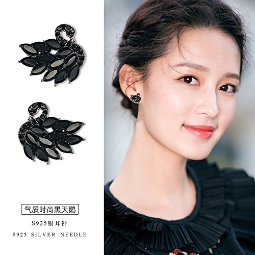 s925 silver needle black and white swan earrings women girls Korean temperament elegant ladies wild personality earrings hypoallergenic (Black Korean Girl)