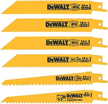 6-Piece Dewalt DW4856 Metal Woodcutting Reciprocating Saw Blade Set