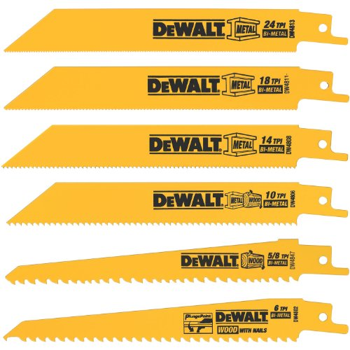 Wood Cutting Sawzall Blade (DEWALT DW4856 Metal/Woodcutting Reciprocating Saw Blade Set, 6-Piece)