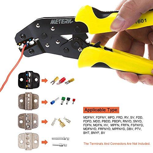Meterk Crimping Tool Wire Crimpers With Carbon Steel Support 0.1-6mm² Adjustable Crimping Range Comfort Grip Terminals Connectors Ratcheting by Meterk (Image #5)