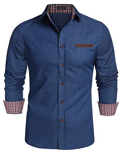 Doent Mens Classic Slim Button Down Shirts Fit Contrast Inner Long Sleeve Collar Dress Shirts (Down Button Classic Shirt)