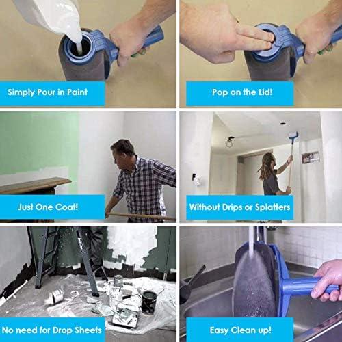LIUMY 6 Pcs Kit de Rouleau de Peinture Professionnel pour Peinture sur Mur Plafond Porte Maison D/écor Jardin