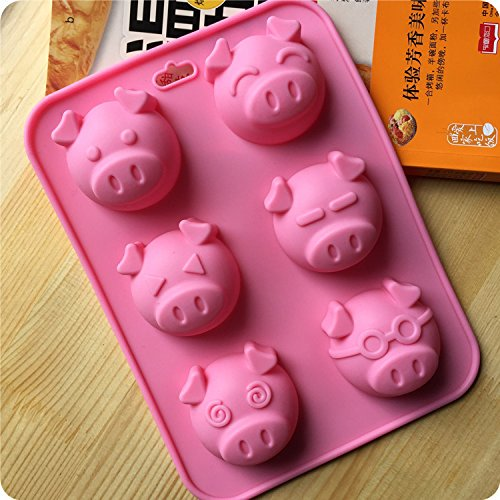 Pig Cups (Silicone Bakeware 6 Different Pig Face Expression Shapes Cake Mold Cute Ice Cube Chocolate Cookie Fondant DIY Reusable BPA Free Cupcake Mould Baking Tray (Pig))