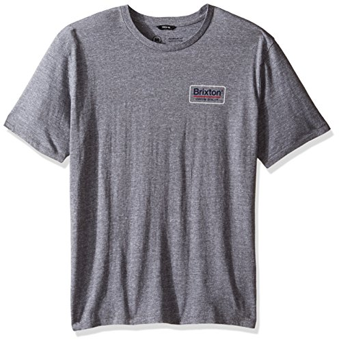 Brixton Men's Palmer Short Sleeve Premium Tee, Heather Grey, - Premium Tee Fit Heather