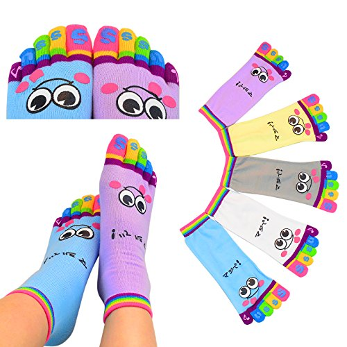5 Pairs Five Toes Trainer Toe Ankle Socks Valentine's Day Gift Girl Women Socks