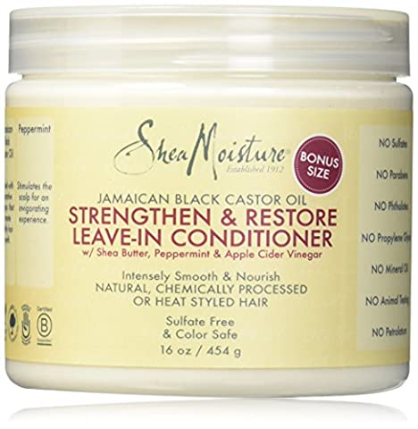 Shea Moisture Jamaican Black Castor Oil Strengthen/Grow and Restore Leave-in Conditioner, 16 Ounce