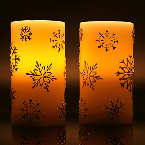 Snowflake Pillar (Antizer Flameless Candles Set of 2 With Snowflake modeling 6