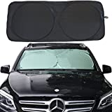 Relanson Jumbo Sun Shade for Car windshield Keeps Vehicle Cool-UV Ray Protector Sunshade(Black, Large/63