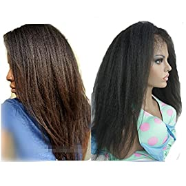 N.L.W. Brazilian virgin human hair lace front wigs for black women Natural black color Italian kinky yaki Glueless front lace wigs with baby hair 10inches