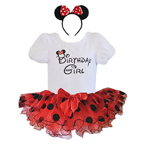 Birthday Girl T-Shirt with Polka Dot Tutu and Headband 3 PCs Set (Age 2, Red with Black dots)