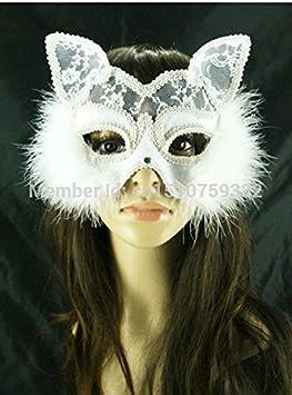 2015 - Hallloween blanco tela de encaje Masquerade Ball Máscara, Máscara de plumas Fox, Catgirl máscara veneciana, tela decoración máscara,: Amazon.es: ...