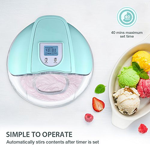 Ice Cream Maker, iSiLER 1.5 Quart Ice Cream Machine With LCD Timer, 3 Pints Gelato Ice Cream Maker for Kids, Automatic Frozen Yogurt, Soft-Serve Ice Cream, Custard, Sorbet, Dessert Maker for Home by ISILER (Image #2)