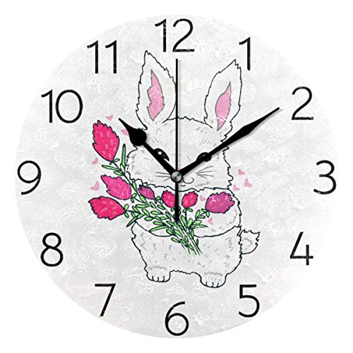 MOYYO Cute Fluffy Bunny Rabbit Animal Wall Clock Acrylic Silent Round Wall Clock Battery Operated Creative Decorative Clock for Kids Living Room Bedroom Office Kitchen Home Decor